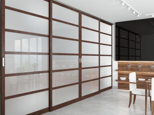 Раздвижные двери из массива и шпона дуба, вставки стекло с пленкой 7