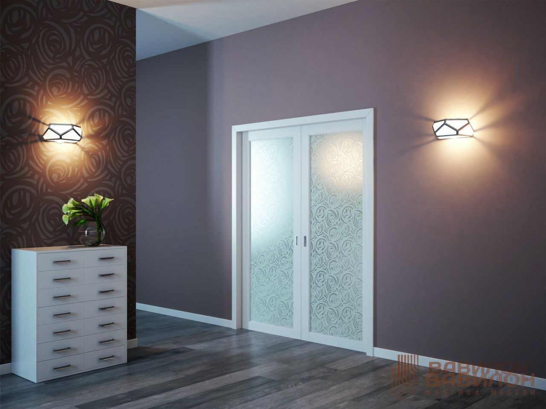 Раздвижные межкомнатные двери с пескоструйным рисунком