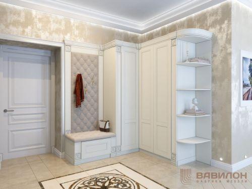 Угловой шкаф в прихожую в классическом стиле