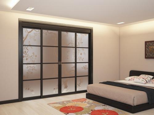 Раздвижные двери в японском стиле из массива и шпона дуба 5