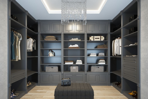 Гардеробная комната П-образная из МДФ в классическом стиле 2