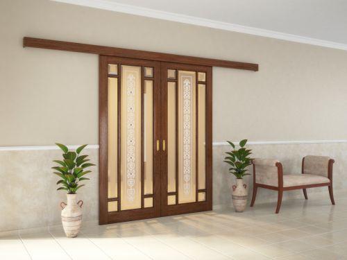 Раздвижные двери из массива и шпона дуба со стеклом 2