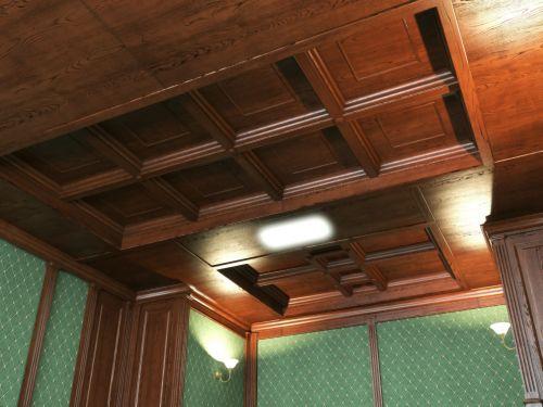 Кессонный потолок из массива 4