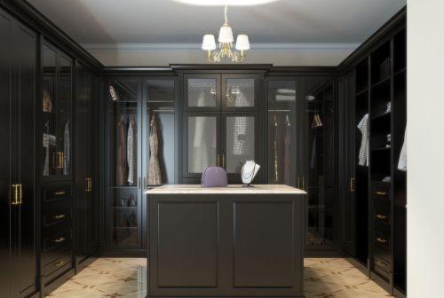Гардеробная комната П-образная из МДФ в классическом стиле