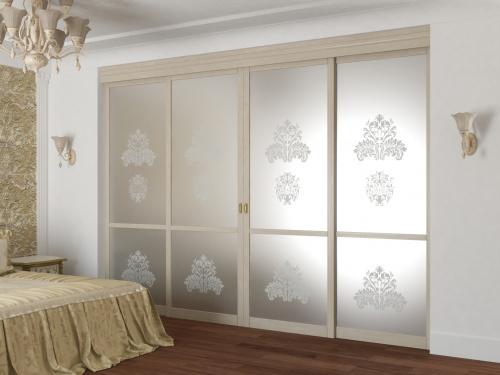 Раздвижные двери с матовым зеркалом из массива и шпона дуба 4