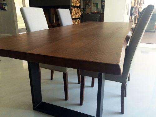 Обеденный стол из массива дуба, имитация слеба