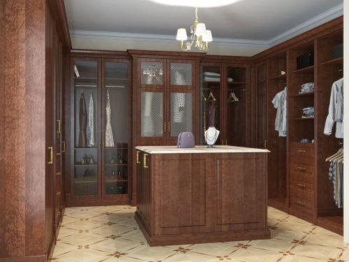 Гардеробная комната из массива и шпона дуба тонированная под орех