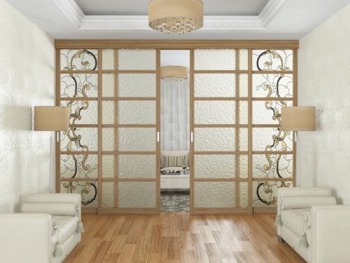 Раздвижные двери с витражом из массива и шпона дуба 8
