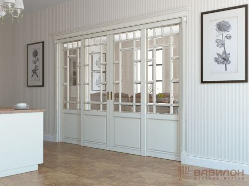 Раздвижная стеклянная перегородка из массива в классическом стиле