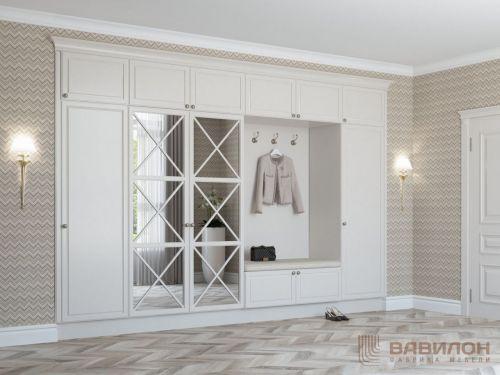 Встроенный шкаф в прихожую с декоративными накладками