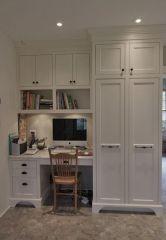 Двухдверный шкаф из массива дерева с рабочим местом