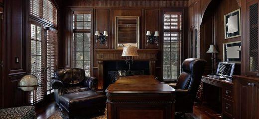 Мебель для кабинета из массива дерева в тёмном цвете