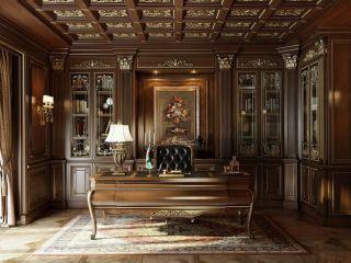 Классический кабинет из массива дерева со стеллажом и большим столом