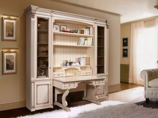 Стеллаж со столом из массива дерева для кабинета