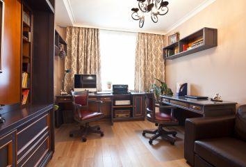 Мебель для кабинета из массива дерева с двумя рабочими местами