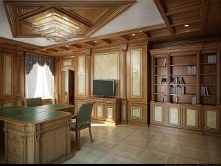 Кабинет из массива дерева с Т-образным столом и отделкой стеновыми панелями