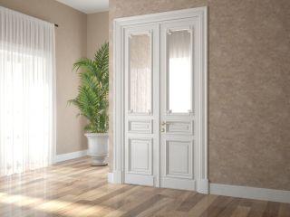 Комплект дверей из МДФ и массива дуба с зеркальной вставкой 9