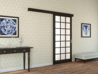 Раздвижная дверь с матовым стеклом из массива и шпона дуба 3