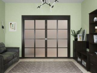 Раздвижные двери с матовым стеклом из массива и шпона дуба 6