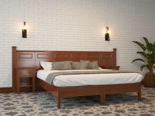 Кровать из массива и шпона дуба со стеновой панелью