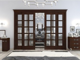 Раздвижные двери со стеклом из массива и шпона дуба 9